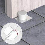 Fermaporta Adesivi – Bianco – Fermaporta adesivo con base inox e gomma PVC – Blister da 1 pz