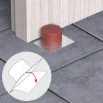 Fermaporta Adesivi – Marrone – Fermaporta adesivo con base inox e gomma PVC – Blister da 1 pz