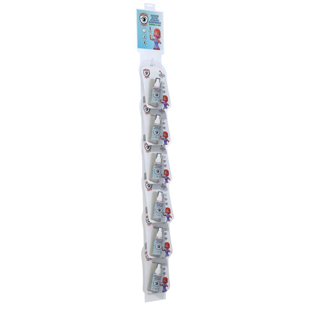 BOX 12 Pz. con Cravatta da 6 pz. LIMPIDALENTE SOLUZIONE VEGETALE DETERGENTE ANTIAPPANNANTE –  Rimuove velocemente depositi grassi dalla lente. Non lascia aloni. PROTEGGE IL TRATTAMENTO. Nebulizzare sulla superficie e pulire con panno di microfibra. | 30ml – Blister 1 pz. / C20 pz.