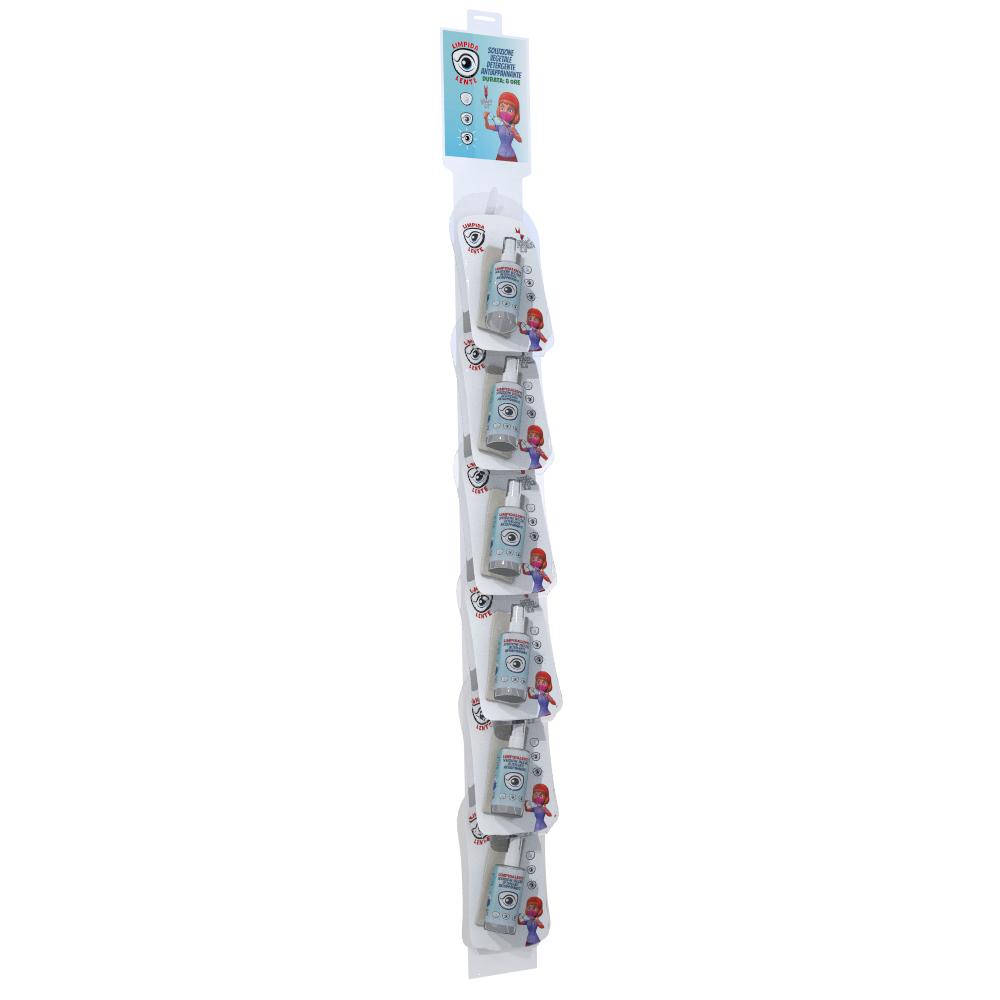 BOX 12 Pz. con Cravatta da 6 pz. LIMPIDALENTE SOLUZIONE VEGETALE DETERGENTE ANTIAPPANNANTE –  Rimuove velocemente depositi grassi dalla lente. Non lascia aloni. PROTEGGE IL TRATTAMENTO. Nebulizzare sulla superficie e pulire con panno di microfibra. | 50ml – Blister 1 pz. / C20 pz.